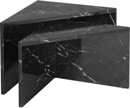 Couchtisch-Set Vilma in Marmor-Optik, 2-tlg., Mitteldichte Holzfaserplatte (MDF), mit lackbeschichtetem Papier in Marmoroptik überzogen, Schwarz, marmoriert, glänzend, Sondergrößen