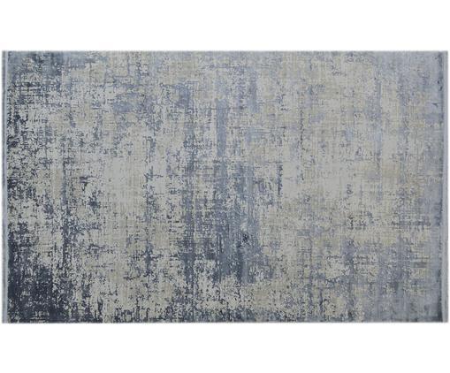 Alfombra con flecos Cordoba, estilo vintage, Parte superior: 70%acrílico, 30%viscosa, Reverso: algodón, Azul, gris, An 160 x L 230 cm (Tamaño M)
