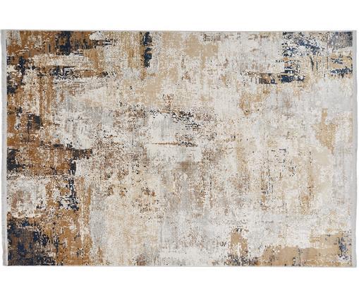 Tappeto Verona, Vello: viscosa, acrilico, Retro: poliestere, Crema, beige, grigio, marrone, blu scuro, Larg. 80 x Lung. 150 cm (taglia XS)