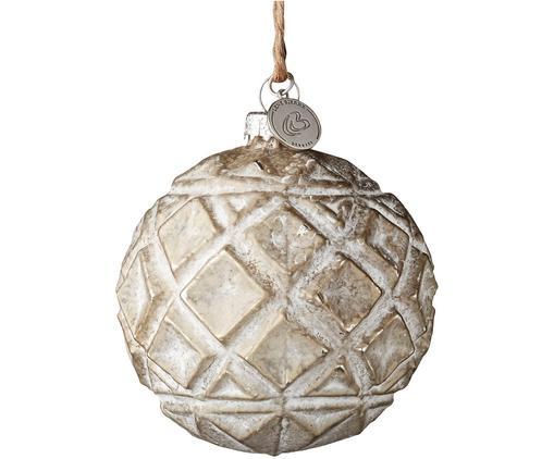 Palla di Natale Fedora, 2 pz., Beige, bianco, Ø 8 x Alt. 8 cm
