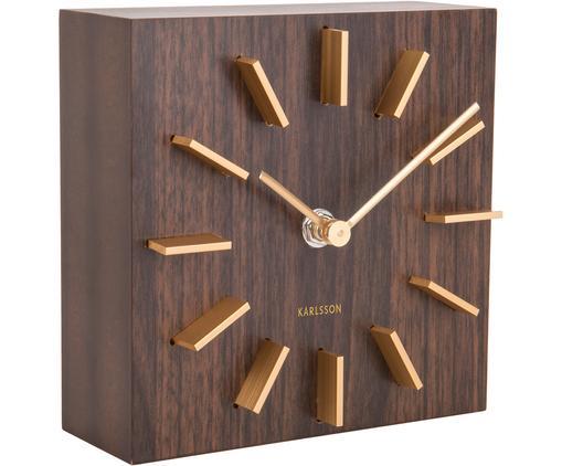 Orologio da tavolo Discreet, Pannello di fibra a media densità (MDF), Marrone, dorato, Larg. 15 x Alt. 15 cm
