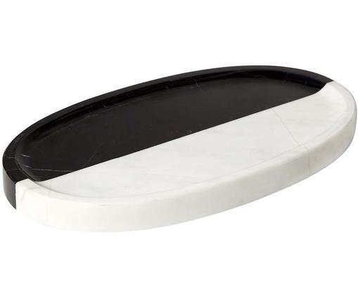 Designer-Deko-Tablett Canaan aus Marmor, Marmor, Schwarz, Weiß, B 28 x T 15 cm