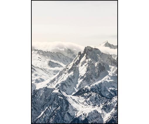Stampa digitale incorniciata White Mountain, Immagine: stampa digitale su carta , Cornice: Pannello di fibra ad alta, Nero, bianco, grigio, Larg. 70 x Alt. 100 cm