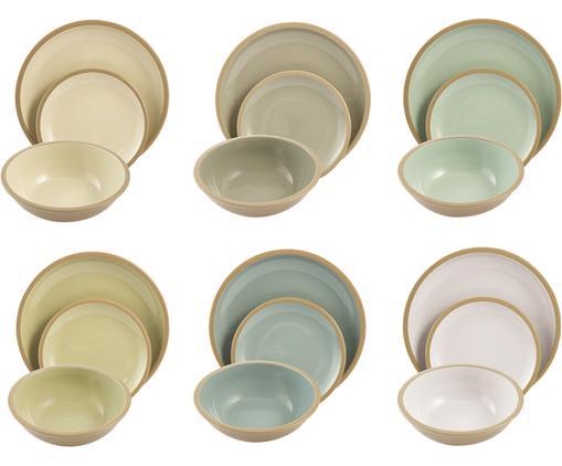 Set di piatti per 6 persone Bistrot 18 pz, Terracotta, Azzurro, tonalità verdi, beige, crema Bordo e esterno: marrone, Diverse dimensioni