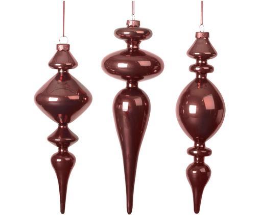 XL Baumanhänger-Set Irregular, 3-tlg., Dunkelrot, Ø 6 x H 26 cm