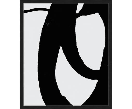 Ingelijste digitale print O!, Afbeelding: digitale print op papier,, Lijst: gelakt beukenhout, Zwart, wit, 53 x 63 cm