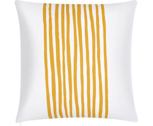 Housse de coussin blanche à rayures jaunes Corey, Jaune, blanc
