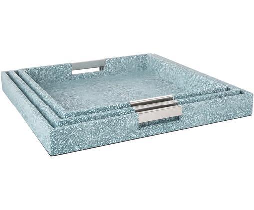 Deko-Tablett-Set Megan, 3-tlg., Tablett: Mitteldichte Holzfaserpla, Außen: Kunstleder, Griffe: Metall, Unterseite: Samtbezug, Blau, Sondergrößen