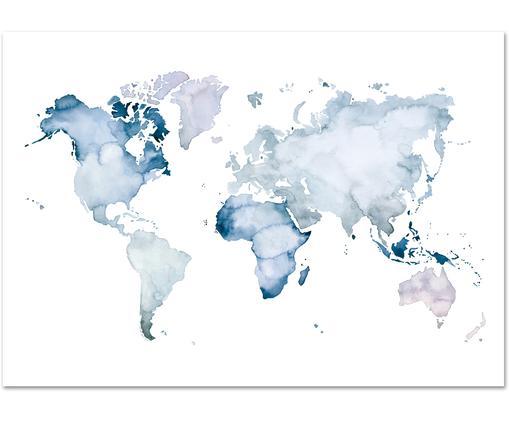 Poster World Map, Bleu, blanc