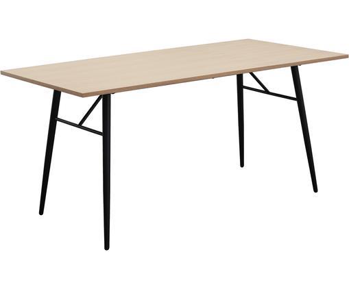 Tavolo da pranzo con struttura in metallo Jette, Piano d'appoggio: impiallacciato rovere ver, Gambe: metallo verniciato a polv, Struttura: metallo verniciato a polv, Impiallacciato rovere, nero, Larg. 160 x Prof. 80 cm