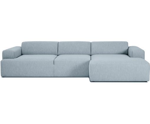 Canapé d'angle tissu gris 4 places Melva, Tissu bleu-gris