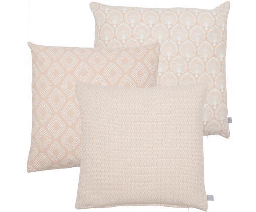 Komplet poszewek na poduszkę Cousin, 3 elem., Bawełna, Różowy, biały, S 45 x D 45 cm