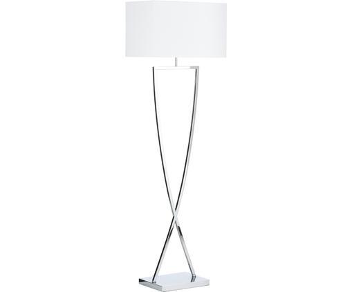 Lampada da terra in agento Toulouse, Base della lampada: metallo cromato, Paralume: tessuto, Cromo, bianco, Larg. 50 cm x Alt. 157 cm
