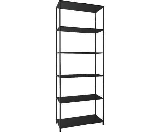 Libreria Newton, Metallo verniciato, Nero, Larg. 70 x Alt. 185 cm