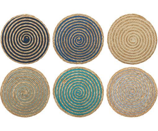 Set 6 tovagliette americane rotonde Sea, Fibre di stelo, Multicolore, Ø 39 cm