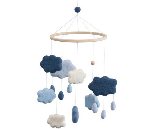 Mobil Clouds, Wełna, drewno naturalne, Odcienie niebieskiego, biały, jasny brązowy, Ø 22 x W 57 cm