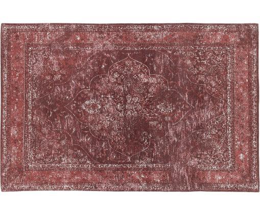 Alfombra artesanal de chenilla Palermo, estilo vintage, Parte superior: 95%algodón, 5%poliéster, Reverso: 100%algodón, Rojo, crema, rojo oscuro, An 120 x L 180 cm (Tamaño S)