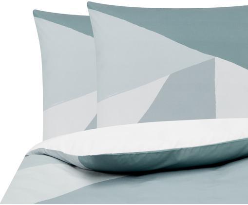 Perkal-Bettwäsche Colorblock mit geometrischem Muster, Webart: Perkal Fadendichte 180 TC, Grün, Grau, Cremeweiß, 240 x 220 cm