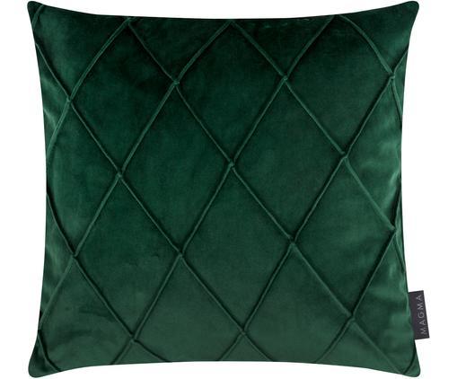 Samt-Kissenhülle Nobless mit erhabenem Rautenmuster, Polyestersamt, Grün, 40 x 40 cm
