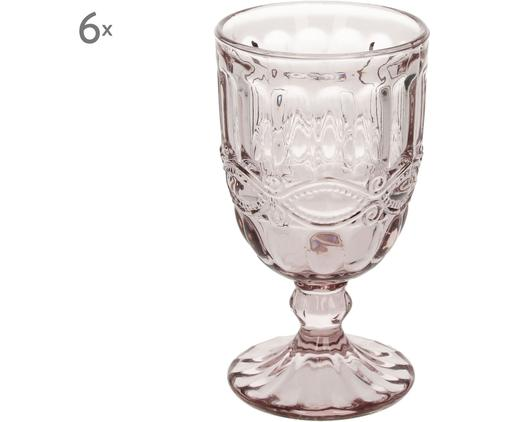 Kieliszek do wina Solange, 6 szt., Szkło, Transparentny, rożowy, 350 ml