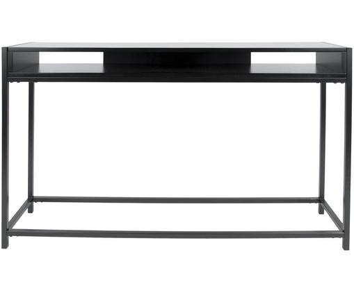 Konsole Fushion mit Stauraum, Gestell: Metall, pulverbeschichtet, Ablagefläche: Mitteldichte Faserplatte,, Schwarz, B 122 x T 30 cm