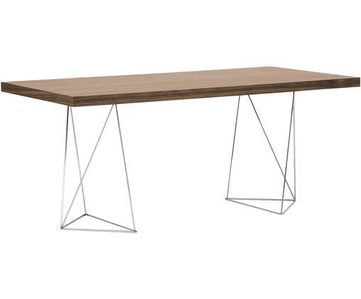 Tavolo da pranzo Max, Piano del tavolo: truciolato con leggera st, Gambe: metallo, cromato, Nocciola, Larg. 160 x Prof. 90 cm