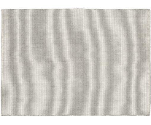 Fein gestreifter Wollteppich Ajo in Grau-Creme, handgewebt, Hellgrau, Creme, B 140 x L 200 cm (Größe S)
