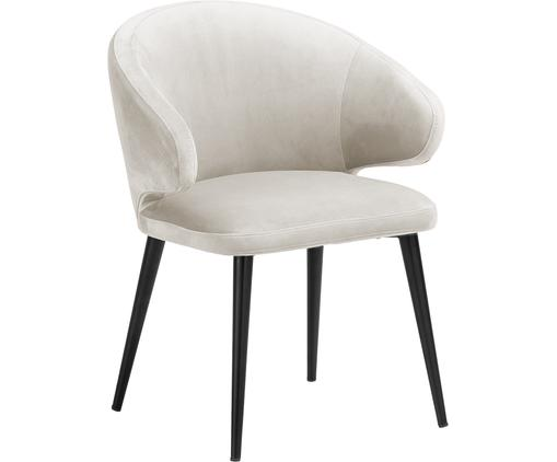 Sedia con braccioli moderna in velluto Celia, Rivestimento: velluto (poliestere) 30.0, Gambe: metallo verniciato a polv, Velluto beige, Larg. 57 x Prof. 62 cm