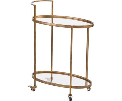 Bar cart Push Antic met glasplaten, Frame: vermessingd metaal, Messingkleurig, transparant, 67 x 86 cm