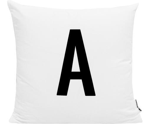 Funda de cojín Alphabet (variantes de A a Z), Poliéster, Negro, blanco, Funda de cojín A