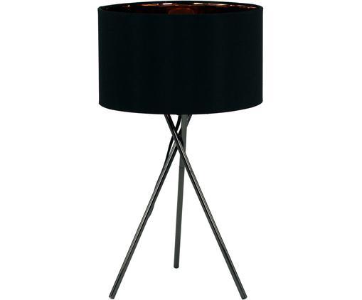 Lampa stołowa Giovanna, Stelaż: stal, Stelaż: czarny klosz: na zewnątrz: czarny Wewnątrz: odcienie miedzi, Ø 26 x W 46 cm