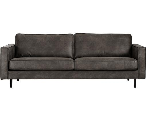 Leder-Sofa Hunter (3-Sitzer), Bezug: 70% recyceltes Leder, 30%, Gestell: Massives Birkenholz und h, Füße: Metall, pulverbeschichtet, Leder Braungrau, B 219 x T 90 cm