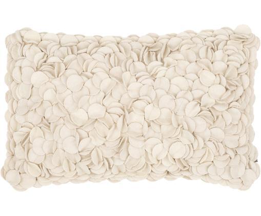 Cuscino in feltro di lana Bed of Roses, Beige chiaro, Larg. 30 x Lung. 50 cm