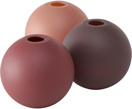 Kleines Vasen-Set Merlinde aus Glas, 3-tlg., Glas, lackiert, Rose, Rot, Weinrot, Ø 10 x H 10 cm