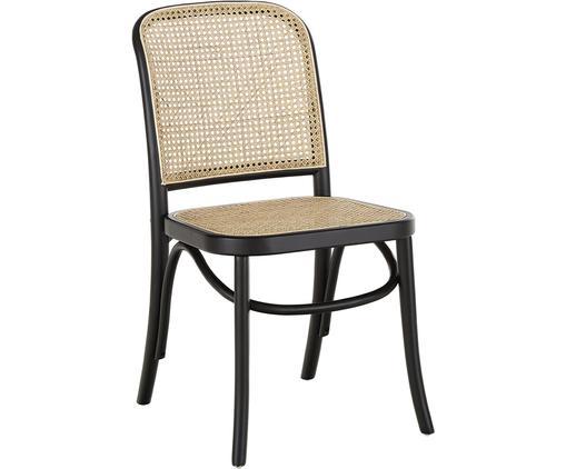Sedia con intreccio viennese Franz, Seduta: rattan, Struttura: legno di betulla massicci, Nero, Larg. 48 x Prof. 59 cm