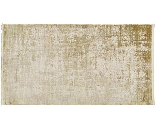 Schimmernder Teppich Cordoba mit Fransen, Vintage Style, Flor: 70% Acryl, 30% Viskose, Olivgrün, Beige, B 80 x L 150 cm (Größe XS)