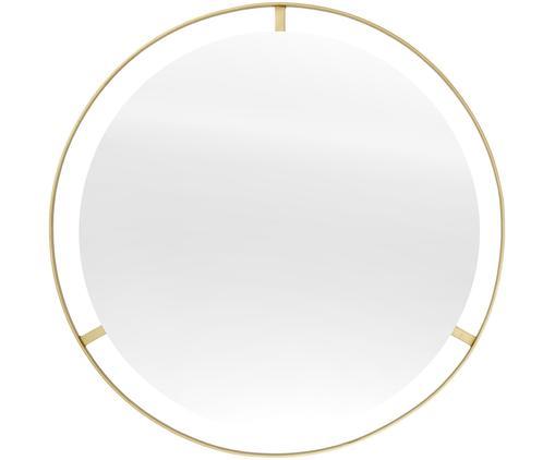 Runder Wandspiegel Hanne mit dünnem Goldrahmen, Rahmen: Metall, vernickelt, Spiegelfläche: Spiegelglas, Rückseite: Mitteldichte Holzfaserpla, Goldfarben, Ø 90 cm