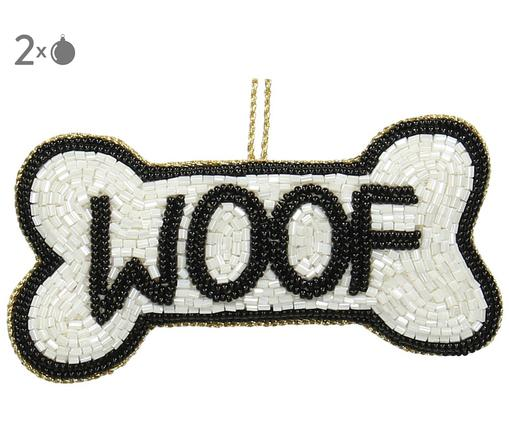 Baumanhänger Woof, 2 Stück, Weiß, Schwarz, 11 x 6 cm