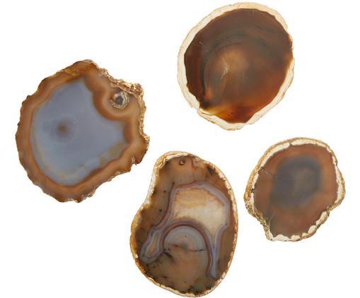 Achat-Untersetzer-Set Zoe, 4-tlg., Achat, Brauntöne, Goldfarben, Ø 12 cm