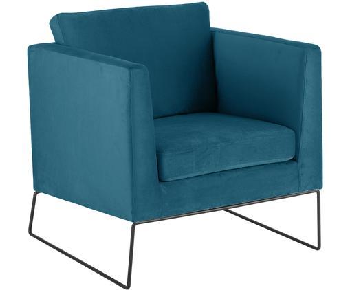 Sedia cantilever in velluto Milo, Rivestimento: blu Gambe: nero