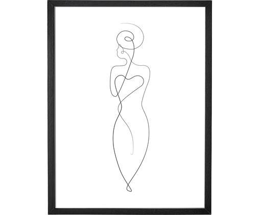 Gerahmter Digitaldruck Caladium, Rahmen: Mitteldichte Holzfaserpla, Bild: Digitaldruck auf Papier, , Schwarz, Weiß, 35 x 45 cm