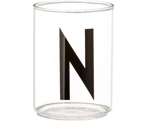 Vasos con letra Personal (variantes de A a Z), Vidrio de borosilicato, Transparente, negro, Vaso N