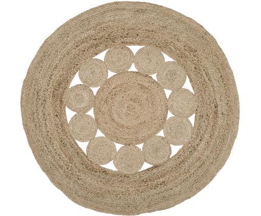 Runder Jute-Teppich Tapu im Boho Style, handgefertigt, Beige, Ø 150 cm (Größe M)