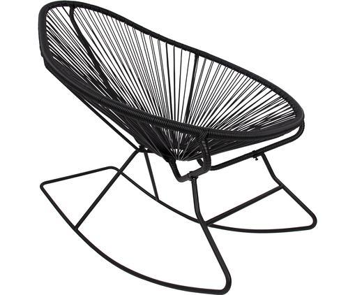 Sedia a dondolo Grace, Struttura: metallo verniciato a polv, Seduta: treccia di polietilene, Struttura: nero, intreccio: nero, L 80 x A 83 cm