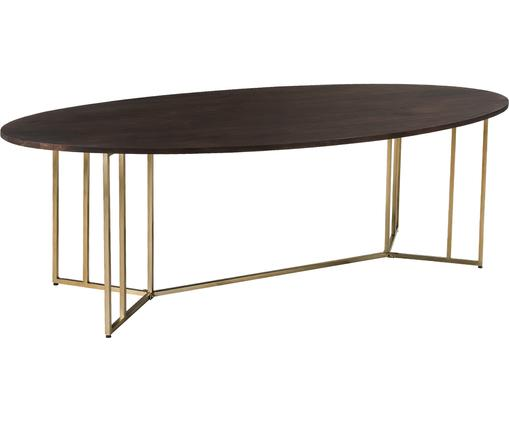 Mesa de comedor ovalada Luca, tablero de madera maciza, Tablero: madera de mango, Estructura: metal recubierto, Madera oscura, dorado, An 240 x F 100 cm