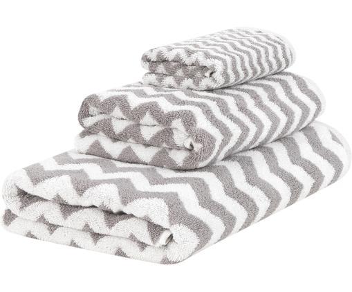 Lot de serviettes de bain Liv, 3élém., Gris, blanc crème