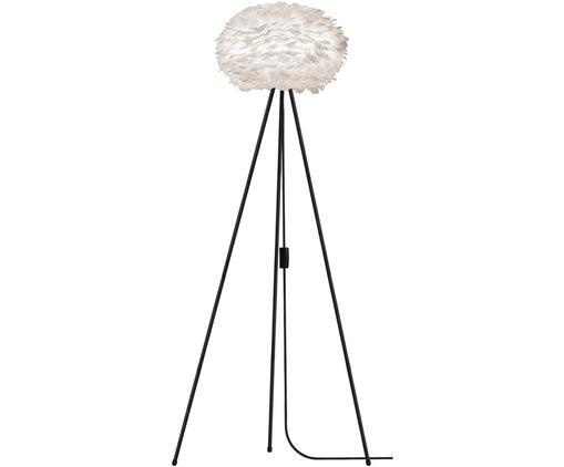 Lámpara de pie de plumas Eos, Pantalla: plumas de ganso, acero, Blanco, negro, Ø 66 x Al 139 cm