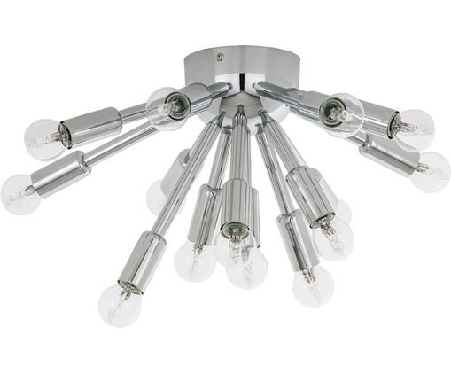 Plafoniera in cromo Spike, Baldacchino: metallo, cromato, Paralume: metallo, cromato, Cromo, Larg. 45 x Alt. 23 cm