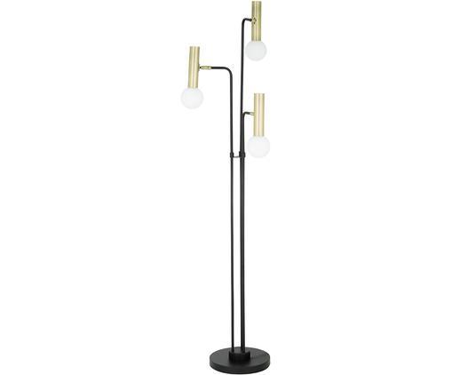 Lampada da terra a LED Wilson, Base della lampada: metallo, Paralume: vetro, Base della lampada: nero Paralume: bianco, dorato Cavo: nero, Ø 46 x Alt. 165 cm