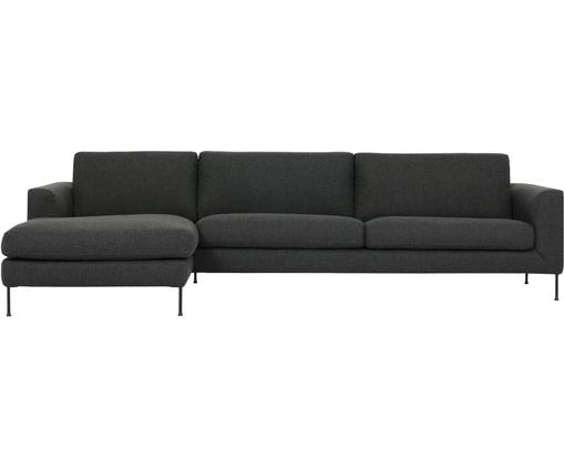 Canapé d'angle 4 places Cucita, Tissu anthracite